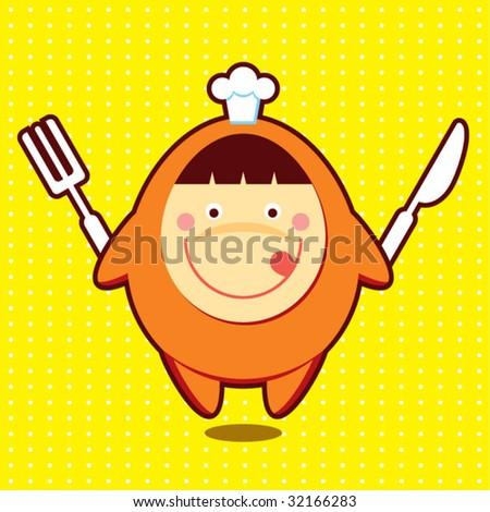 little cute chef icon - stock vector