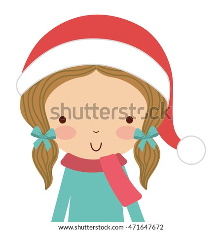 little cute girl with winter clothes isolated icon vector illustration design