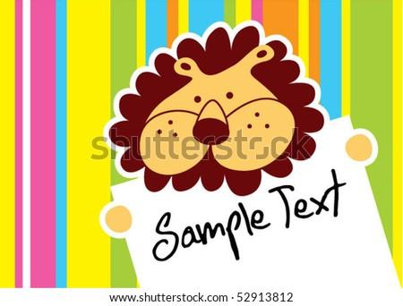 little cute lion message - stock vector
