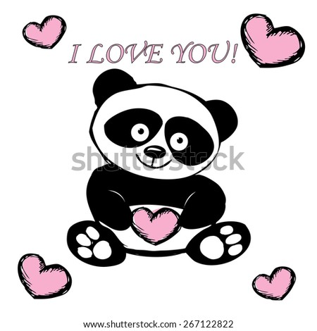 Little  cute panda with hearts , isolated on white, hand drawing, vector - stock vector