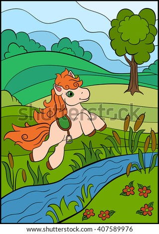 Little cute pony jumps under the river.