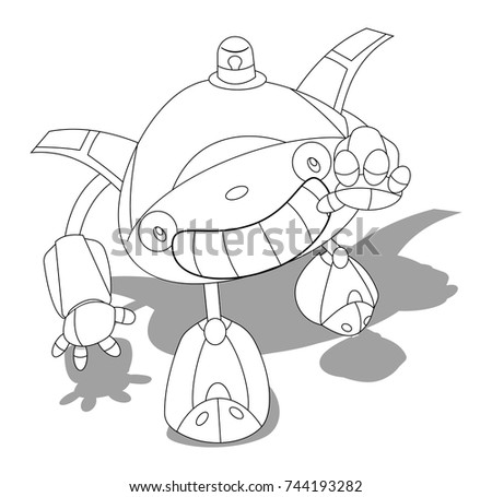 Little Detective Robot Coloring Book Kid Stock Vector 744193282 ...