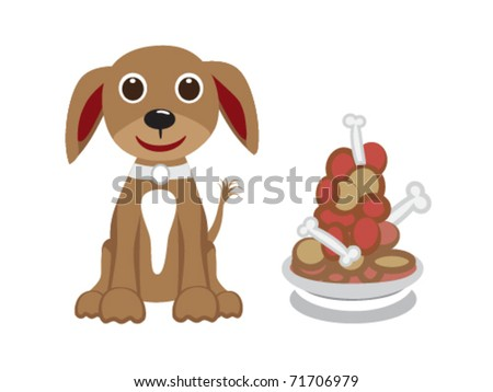 little dog with food - stock vector