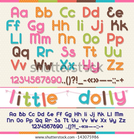 Little Dolly funny kid font. - stock vector