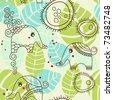 Little elephants garden; seamless pattern - stock vector