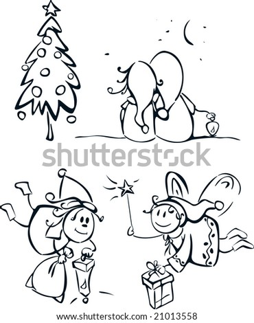 Little elfs and elements for design. - stock vector