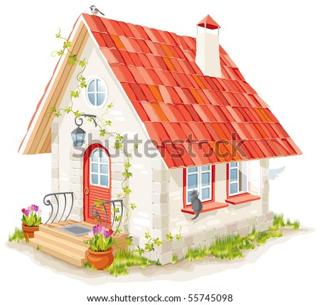 little fairy house with a tiled roof - stock vector