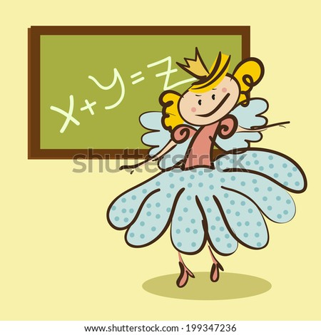 little fairy meets a lesson from the school board - stock vector