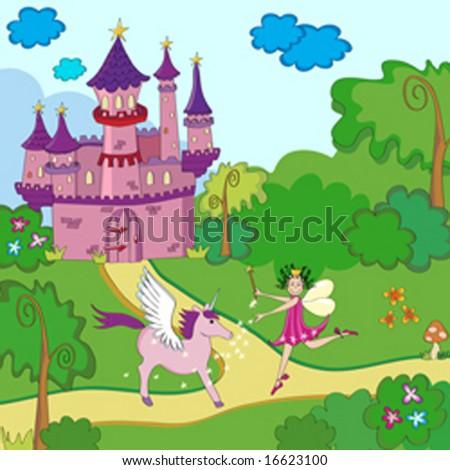 Little fairy-tale princess with unicorn near castle. - stock vector