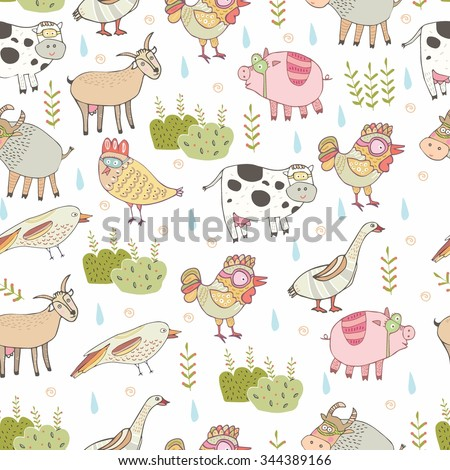little farm, animals, pig, cow, chicken, color, pattern in vector.  Beautiful background  - stock vector