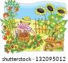Little farmer boy picking  strawberry in the garden - stock vector