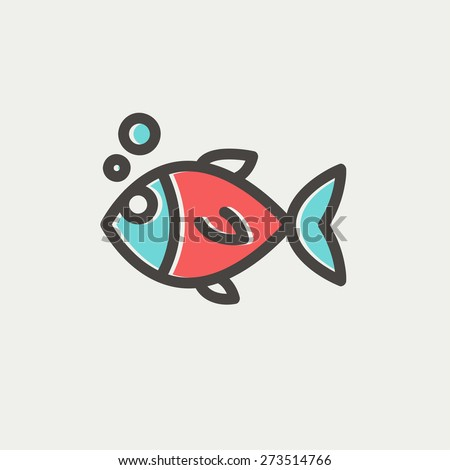 Little fish icon thin line for web and mobile, modern minimalistic flat design. Vector icon with dark grey outline and offset colour on light grey background. - stock vector