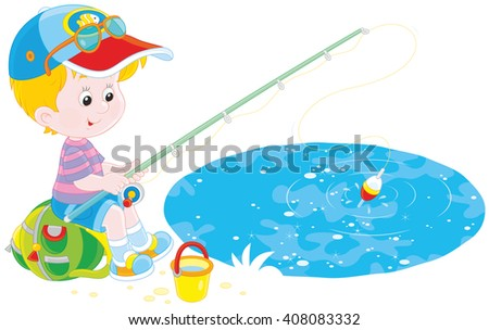 Little fisher on a pond