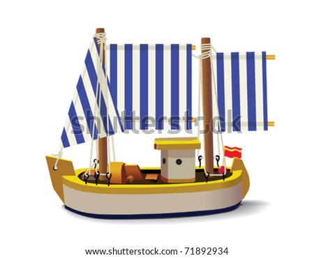 Little fishing ship model isolated on a white background. - stock vector