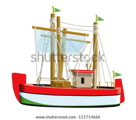 Little fishing ship model isolated on a white background. (Used mesh and blend tool). - stock vector