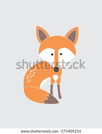 Little Fox Vector Illustration - stock vector