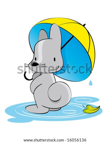 little fox with umbrella - stock vector