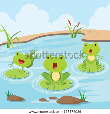 Little frogs in the pond. Cute little frogs having fun in the pond. - stock vector