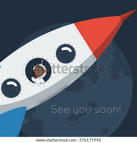 Little funny astronaut floating in space with rocket. Flat style vector illustration. - stock vector