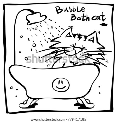 Little Funny Cartoon Cat Bath Illustration Stock Vector 779417185 ...