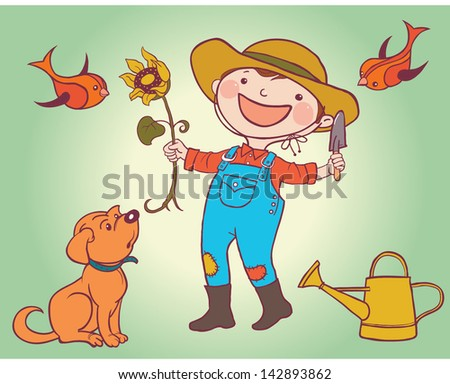 Little Gardener Boy with Sunflower and his Dog. Children summer activity ideas.Children illustration for School books and more. Separate Objects. - stock vector