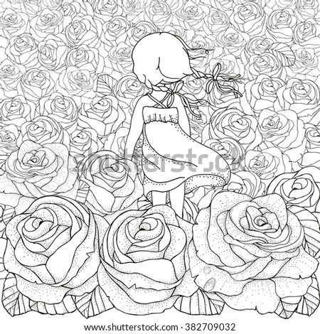 Little girl alone. Many roses. Wind blows. Pattern for coloring book. Floral, retro, doodle, vector, design element. Black and white background. Zentangle - stock vector
