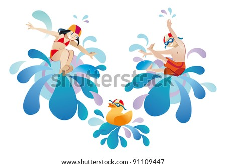 Little girl and  boy jumping into a pool - stock vector