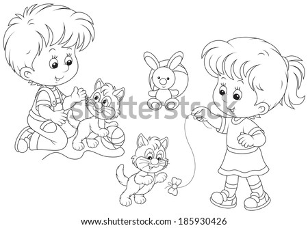 Little girl and boy playing with small playful kittens - stock vector