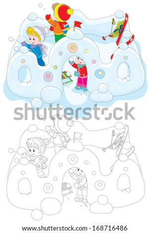Little girl and boys playing snowballs in a snow fortress - stock vector