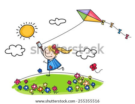 Little girl and kite - stock vector