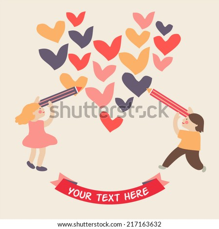 Little girl and little boy drawing a heart with pencil  - stock vector