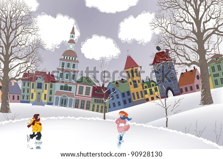 Little girl and little boy skating at the rink in front of the houses - stock vector