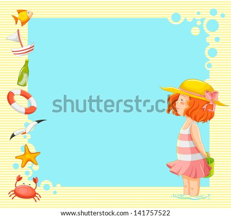 little girl and symbols of summer over background with copy space - stock vector