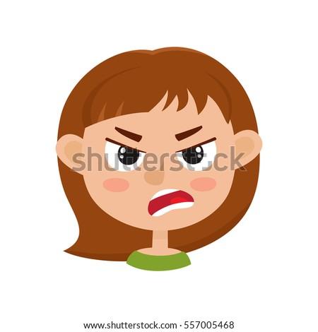 little girl angry face expression cartoon stock vector 557005468 rh shutterstock com sad face cartoon mad face cartoon pics