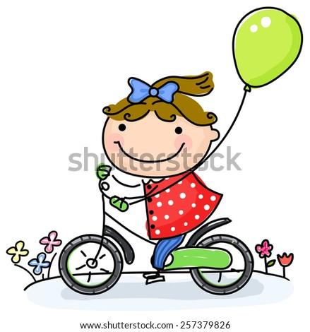 little girl biking - stock vector