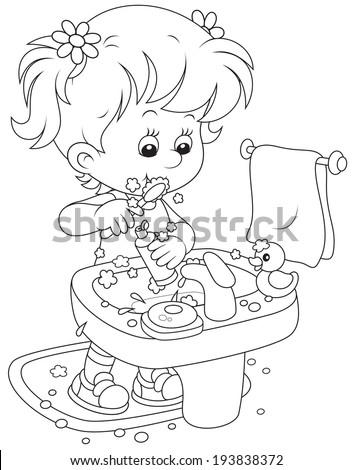 Little girl brushing teeth in a bathroom - stock vector