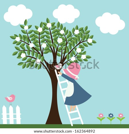 Little girl climbs the ladder to land a bird on a tree. Vector illustration. - stock vector