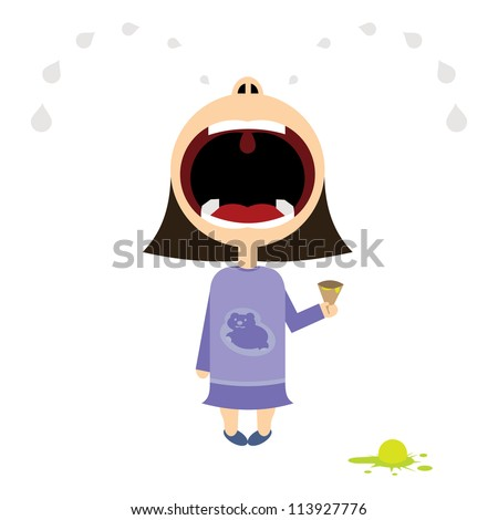 little girl cries over ice cream - stock vector