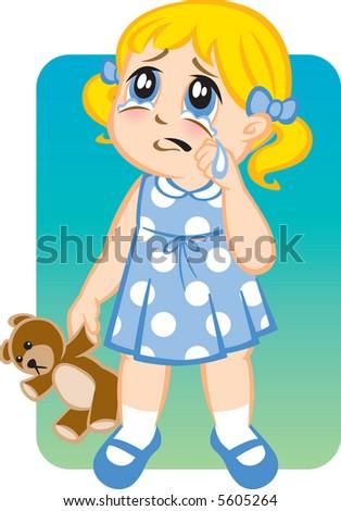 Little Girl Crying - stock vector