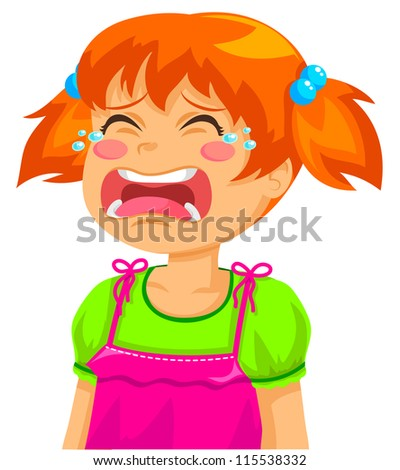little girl crying (JPEG available in my gallery) - stock vector