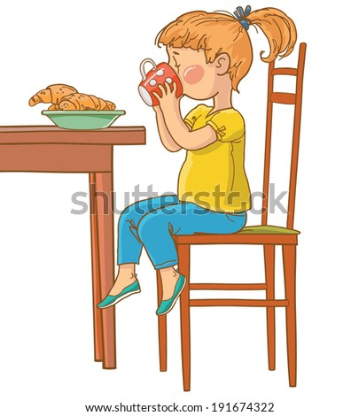 Little girl drinking from cup. Breakfast. Children illustration for School books, magazines, advertising and more. Separate Objects. VECTOR - stock vector
