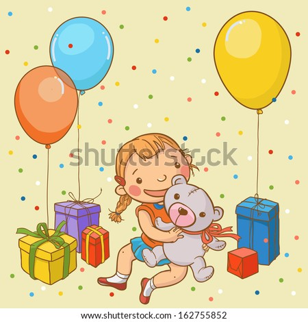 Little Girl Enjoying Birthday Party and Gifts. Children illustration for School books, magazines, advertising and more. Separate Objects. VECTOR. - stock vector
