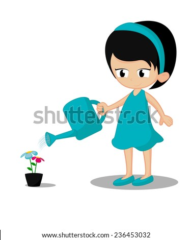 Little girl give the water to the flower