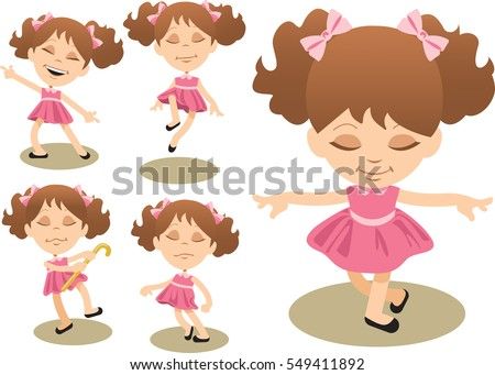 Little girl has fun dancing, ending her performance with a curtsy. Vector illustration