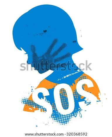 Little girl head grunge silhouette with with hand print after hand slap and sign SOS. Illustration on the white background.. Vector available. - stock vector