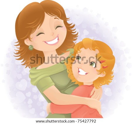 Little girl hugging her mother. Great for Mother's day. - stock vector