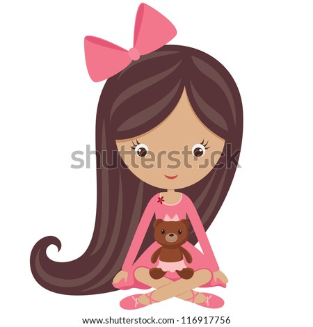 Little girl in a pink dress sitting with her teddy bear - stock vector