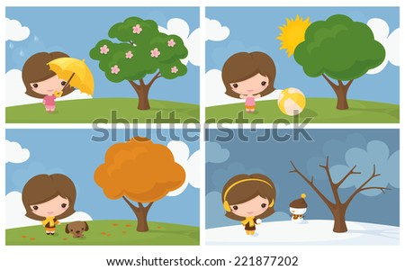 Little girl in 4 seasons.  - stock vector