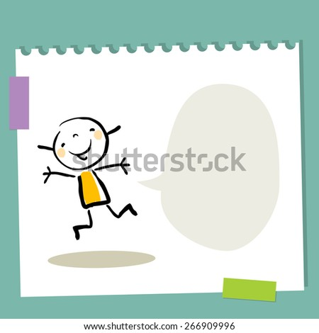 Little girl, kid with empty speech balloon. Blank space for text insertion. Happy smiling kid jumping.  - stock vector