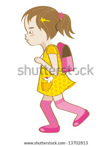 little girl on the way to school - stock vector
